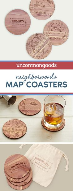 $36 - This charming set of coasters is a toast-worthy way to celebrate hometowns, new stomping grounds or favorite corners of the country.