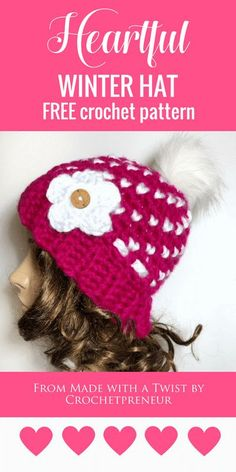 FREE CROCHET PATTERN   Heartful Winter Hat   super bulky yarn makes this so warm and the swirls of hearts make it a sweet hat for all ages! #freecrochetprattern #freepattern #crochetpattern #hearthat #valentinesday #hearthatpattern #valentinesdaycrochetpattern Crochet Beanie Pattern, Crochet Baby Hats, Free Crochet, Crochet Patterns For Beginners, Easy Crochet Patterns, Crochet Designs, Crochet Christmas Gifts, Knit Hats, Hat Patterns