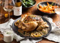 Oven Roasted Chicken, Roast Chicken, Lemon Salt, Stuffed Whole Chicken, Roast Recipes, Roasting Pan, Caramelized Onions, Chicken Wings, A Food