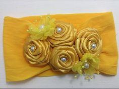 Tiara amarilla de flores de listón VIDEO No. 362 - YouTube