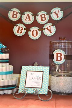 Baby Boy shower - blue & brown & white polka dots  www.MLEvents.us - Philadelphia, PA