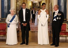 Queen Elizabeth II and Prince Philip meet President Barack Obama and First Lady Michelle Obama at Buckingham Palace in London, on May 24, 2011.