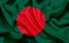 Download wallpapers Bangladeshi flag, Bangladesh, national symbols, Asia, flag of Bangladesh