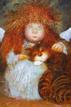 Коты и ангелы Галины и Люси Чувиляевых — КОТы, КОТэ и КОТики Cute Cartoon, Cartoon Art, History Of Calligraphy, People With Red Hair, Cat Drawing, Cat Art, Art Girl, Whimsical, Dog Cat