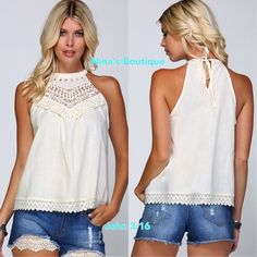 Sleeveless tops Woven tops with crochet appliqué neckline and lace trim at hem. Price is firm. S(2/4) M(6/8) L(10/12) 100% cotton Tops