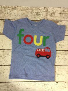 New lil threadz design posted! Boy's shirt firetruck party truck emergency vehicle Ready to Ship fourth birthday shirt four shirt boys birthday shirt boys clothing by lilthreadzclothing