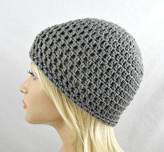 Grey Beanie, Womens Crochet Hat, Crochet Skull Cap, Grey Winter Hat, Grey Crochet Beanie