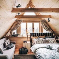 Attic spaces, attic rooms, attic bedroom designs, attic playroom, a Attic Bedroom Designs, Bedroom Loft, Bedroom Decor, Bedroom Ideas, A Frame Bedroom, Loft Room, Bedroom Lighting, Cabin Interior Design, Loft Interior