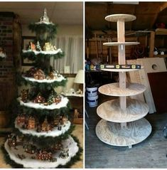 New diy christmas village display tree ideas Diy Christmas Village Displays, Christmas Villages, Diy Christmas Tree, Outdoor Christmas Decorations, Christmas Projects, Holiday Crafts, Vintage Christmas, Christmas Holidays, Christmas Ornaments