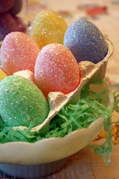 Glitter Eggs Turn a plastic egg into something pretty.