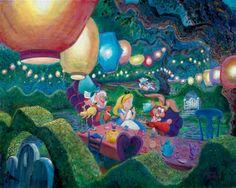 Alice Wonderland Mad Hatter Harrison Ellenshaw Disney NEW Canvas LE 195 Signed Alice In Wonderland Animated, Alice In Wonderland Tea Party, Disney Fine Art, Tea Party Decorations, Arte Disney, Disney Magic, Mad Hatter Tea, Mad Hatters, Animation