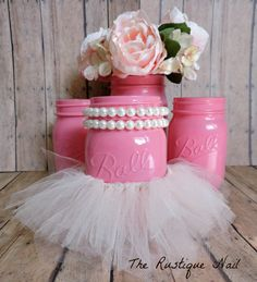 Pink mason jar with tutu mason jar decor mason by TheRustiqueNail