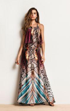 Vestido Longo Estampa Snake Vermelho/Azul/Marrom 2016 Flower Dresses, Nice Dresses, Casual Dresses, Prom Dresses, Summer Dresses, Hippy Fashion, Fashion Beauty, Dress Vestidos, Style Casual