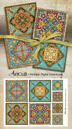 Ornement marocain Images sous-verres ORIENTAL 3.8x3.8 par ArtCult