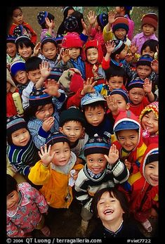 Schoolchildren dressed for the cool mountain weather. Northeast Vietnam (color)