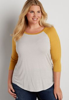 plus size striped baseball tee with autumn gold sleeves | maurices