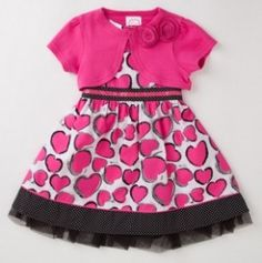 Girls' Two Piece Hearts Dress with Knit Shrug - Two Piece Dresses - Events Little Girl Dresses, Girls Dresses, Daddys Little Princess, Girls Special Occasion Dresses, Knit Shrug, Heart Dress, Two Piece Dress, Kid Styles, Cheap Dresses