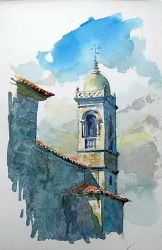 CARLOS FANDIÑO - PINTOR URUGUAYO Intriguing composition - and love the cerulean blue cloud over the spire - great contrast. #watercolorarts