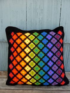 Brilliant rainbow square pillow handmade 60s mod by OatesGeneral