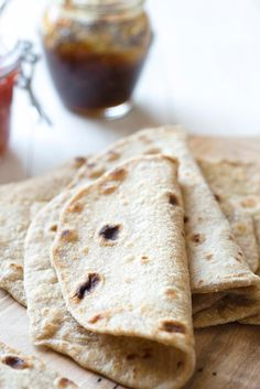 Sprouted Wheat Flatbread Recipe - Chapati is an unleavened flatbread common in many South Asian countries. Made with sprouted wheat this bread is easy to roll out; has a mild slightly sweet flavor and is a quick accompaniment to serve alongside most an Thm Recipes, Flour Recipes, Real Food Recipes, Cooking Recipes, Yummy Food, Fast Recipes, Healthy Recipes, Juice Recipes, Pizza Recipes