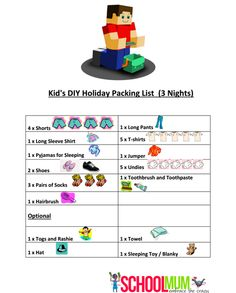 FREE Printable packing list for kids! Brilliant!