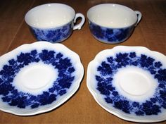 Set Of Two 2 Gefle Vinranka Percy Flow Blue by GiGisVintageAcre