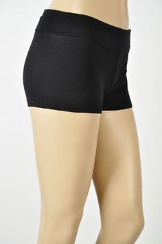 Yoga Athletic Fitness Shorts with Fold Over Waist, Junior Sizes S-M-L, 6 Solid Colors. 92% Cotton 8% Lycra Spandex