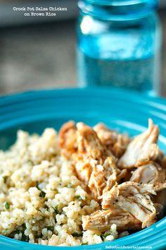 Crock Pot Salsa Chicken on Brown Rice | ReluctantEntertainer.com