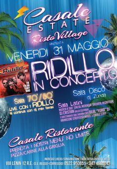 Venerdi 31 Maggio RIDILLO in concerto