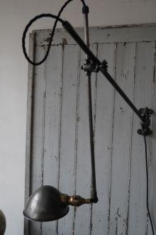 Rare Lampe O.C. White Industrielle fixation murale applique