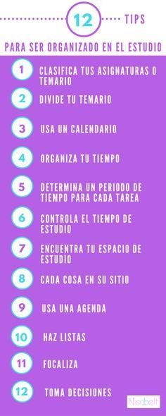 En www.nisabelt.com te doy los 12 TIPS ESENCIALES PARA SER ORGANIZADO EN EL ESTUDIO