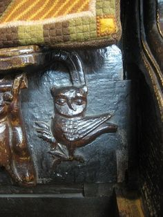 Owl carving  -  Great Malvern Priory