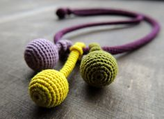 Necklace with fine tubes and beads crochet by Zsazsazsu