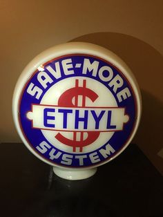 Double Sided Mint Condition Milk Body Save More System Ethyl Gas Pump Globe #SaveMoreSystemEthyl