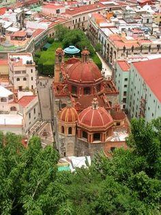 Guanajuato: The Colonial City Center.  Aerial view of Jardin de la Union. Guanajuato, MEXICO.