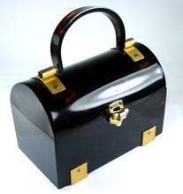 Fantastic Faux Tortoise Shell Lucite Lewis Box Purse Handbag