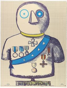 Enrico Baj Punching General, 1970. Lithograph on paper 26 1/8 x 20 in. (66.4 x 50.8 cm) Collection Museum of Contemporary Art Chicago,