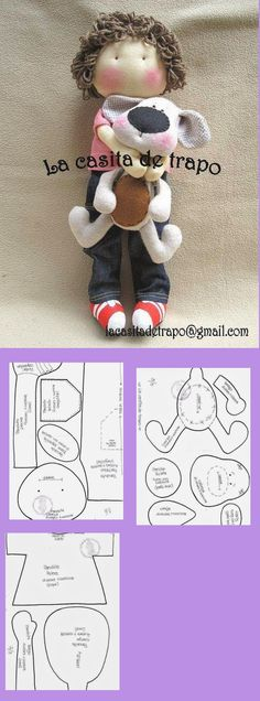 free pattern: softie: boy & dog