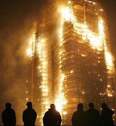 "Windsor Tower in Madrid, Spain burned for 20+ hours and never collapsed.  No steel frame structure has ever collapsed due to fire, before or after 9/11. On 9/11, 3 collapsed, due to ""structural failure from fires"". FOR THE SHEEP TOO BUSY GRAZING IN FRONT OF THE TV TO EVEN CARE."