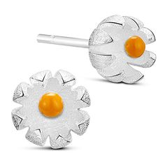 Glamourous 925 Sterling Silver Ear Studs, Flower with Enamel Bud, Silver