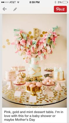 pink, gold and mint dessert table