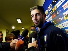 Roberto Gagliardini of Italy speaks to the media during a press conference at the club's training ground at Coverciano on November 9, 2016 in Florence, Italy.