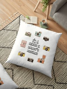 """"""" I'm a Princess In Daddy's Pictures - Father Son Matching Shirts - Camera Shirt """" Floor Pillow by hiwaga   Redbubble Father Son Matching Shirts, Floor Pillows, Throw Pillows, Im A Princess, Father And Son, S Pic, Sons, Pillow Covers, Daddy"""