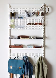Elfa Hallway / Cloakroom - Best Selling Solution 2 at STORE. Clear your hallway of bags, jackets, keys etc with our modular hallway storage system f. Cloakroom Storage, Hallway Storage, Bedroom Storage, Bedroom Decor, Smart Storage, Kids Storage, Cube Storage, Storage Ideas, Wardrobe Storage