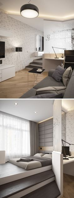 BEDROOM DESIGN IDEA - If you have a living area and bedroom sharing the same space, raise the bed up onto a platform and create a partial wall to clearly define the bedroom and living areas.