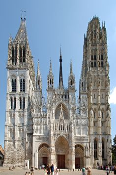 Religious Architecture, Gothic Architecture, Classical Architecture, French Cathedrals, Home Temple, Rouen, Cathedral Church, Church Design, Brick And Stone
