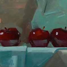challenging color and edges. Painting a day.hmmmm not so sure about that Acrylic Painting Inspiration, Art Stand, Apple Art, Still Life Oil Painting, Small Paintings, Oil Paintings, Art Programs, Still Life Art, Online Painting