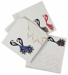 Indian Wedding Card in Cream and Golden with Peacock Design