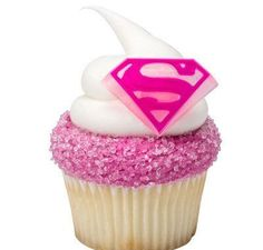 Supergirl Cupcake Rings Birthday Wedding Set of 12 Cup Cake Super Girl DC Superhero Pink Comics by CakesNotIncluded on Etsy https://www.etsy.com/listing/451422744/supergirl-cupcake-rings-birthday-wedding