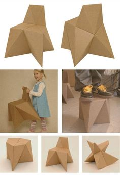 Cardboard furniture made only by cutting and folding